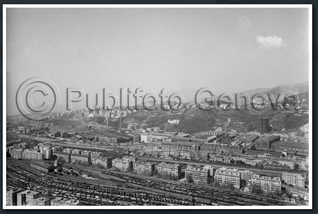 Valpolcevera, area stabilimento SIAC 12 aprile 1961. Qui sorgerà il Viadotto Polcevera